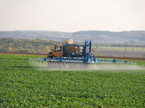 Farmer spraying crops with pesticides