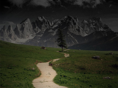 path from a dark mountain