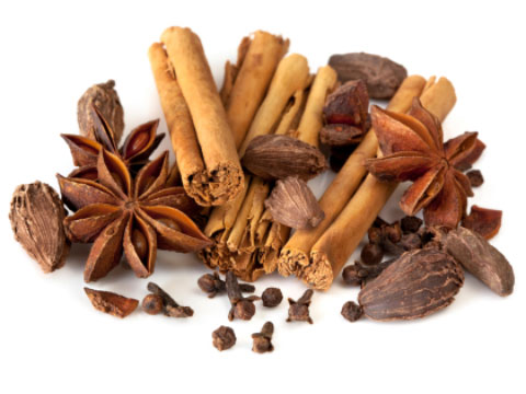 Spices including star anise, cinnamon, cardamom and peppercorns