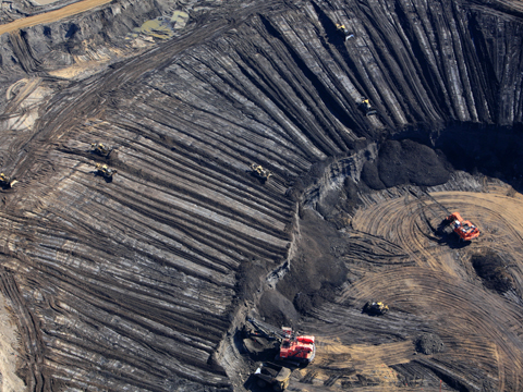 Open cast tar sands mine in Alberta, Canada