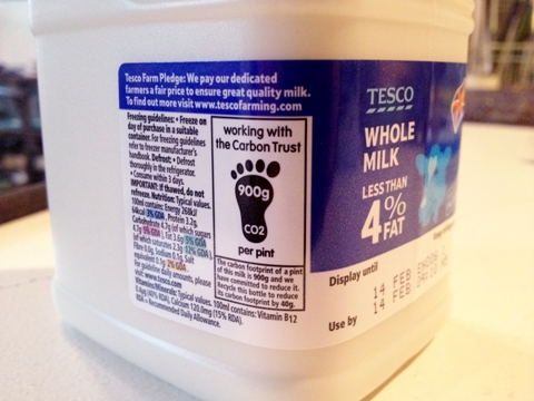Carton of Tesco milk with Carbon Reduction Label