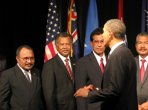 PNG Prime Minister Peter O'Neill and other Pacific leaders met President Obama. Photo: East-West Center / flikr.com.