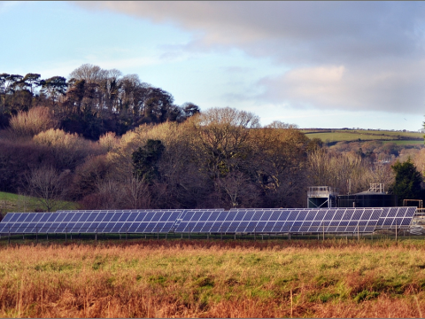 A solar farm in open countryside near Lostwithiel, Cornwall. Photo: bobchin1941 via Flikr.