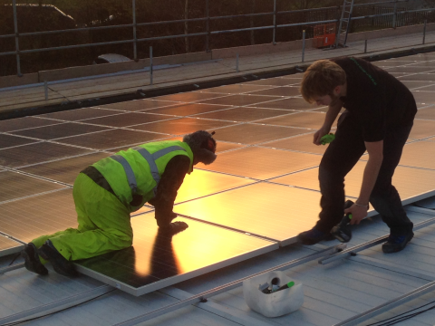A commercial solar installation under way in the south of England. Photo: Adrian Arbib / Renewable energy Cooperative - r-eco.coop.