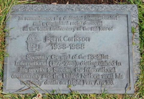 Memorial stone to Assistant Secretary-General of the United Nations and UN Commissioner for Namibia, Bernt Carlsson.