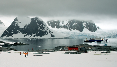 M/V Akademik Shokalskiy at anchor in the Penola Strait, off Petermann Island, in Antarctica. Photo: AntarcticBoy via Flickr.com.