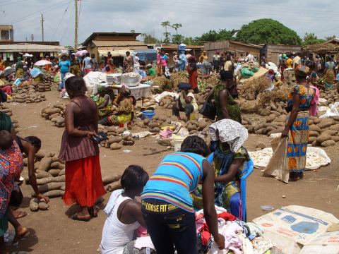 An African yam market. Photo: terriem via Flickr.com.