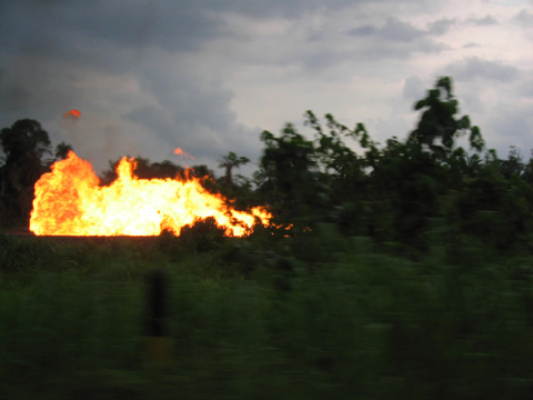 Shell gas flare by Oloibiri in the Niger Delta. Photo: Rhys Thom via Flickr.com.