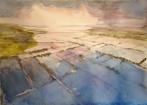 Flooding on the Somerset Levels and Moors. Watercolour by Lord Otter via Flickr.com.