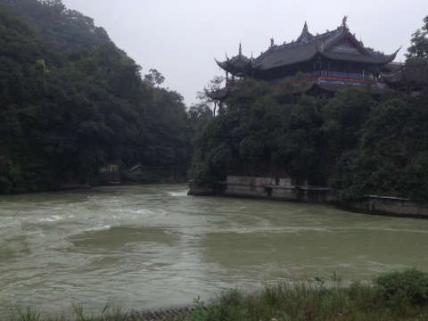 This scene from Dujiangyan illustrates traditional harmony of water in the Chinese landscape. Photo: Joshua Bateman.