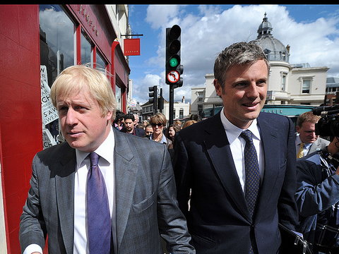 Zac Goldsmith & Boris Johnson on a walk about in Richmond, April 10, 2012. Photo: By Andrew Parsons / i-Images via Flickr.com.