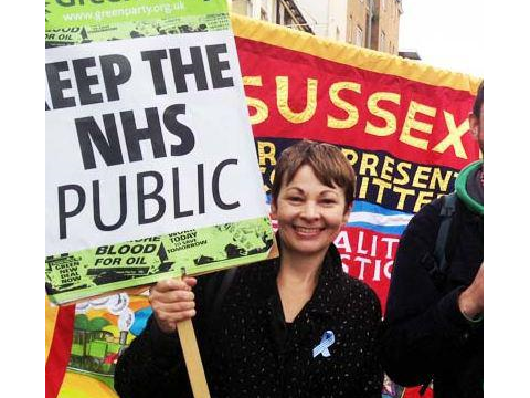 Caroline Lucas marching for the NHS. Photo: Green Party of England & Wales.