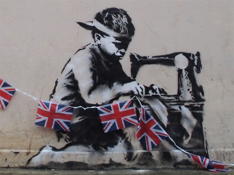 Poundland jubilee flag maker by Banksy. Photo: Duncan Hull via Flickr.com.