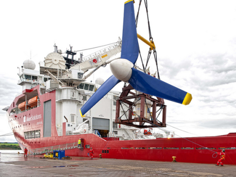 Atlantis deploys a 1 MW tidal turbine at European Marine Energy Centre at Orkney, UK. Photo: Green Energy Futures via Flickr.com.
