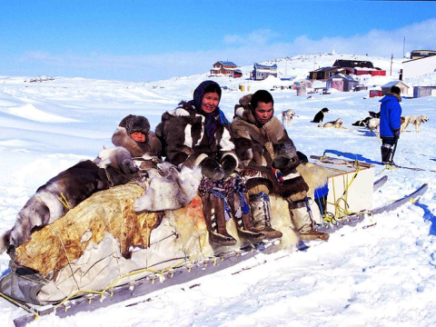 Traditional qamutik (sled) on Cape Dorset. Photo: Ansgar Walk / Wikimedia Commons.