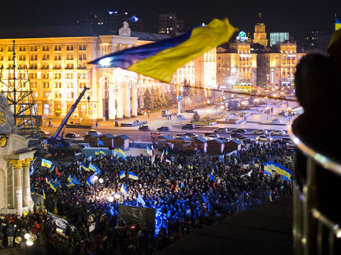 Pro-Europe protest in the Maidan, 27th November 2013. Photo: Evgeny Feldman / Wikimedia Commons.