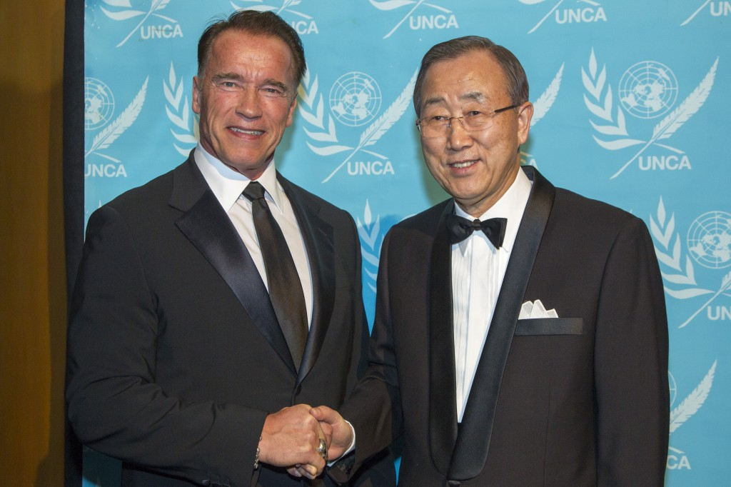 The UN's Ban Ki-moon with Arnold Schwarzenegger, 2012 Global Advocate of the Year for his work on climate change. Image: UN Photo / Rick Bajornas.