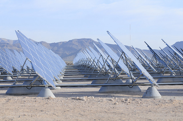 These 70,000 solar panels in the Nevada desert power the Nellis Air Force Base, Nevada. Photo: Scott via Flickr.com.