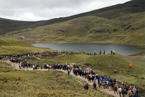 Indigenous demonstrators in Peru's Cajamarca province protesting at drinking water contamination from the US-Peruvian Conga gold mine, whose operations have been stalled. Photo: Diego Cupolo.