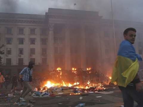 As the massacre takes place inside Odessa's Trade Union House. Photo: via http://ersieesist.livejournal.com/813.html.