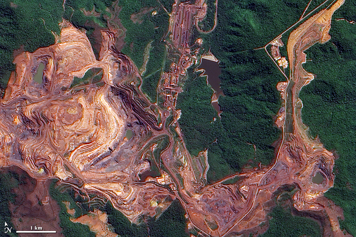 The Carajas mine in the Brazilian Amazon. NASA image created by Jesse Allen, using EO-1 ALI data provided courtesy of the NASA EO-1 Team. Caption by Holli Riebeek. Wikimedia Commons.