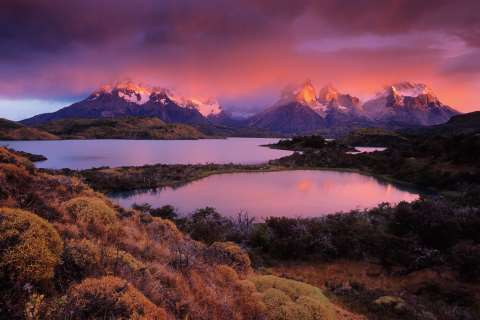The Most Beautiful Place in the World: IMHO - Torres Del Paine National Park, Chile. This amazing light lasted for only a couple of minutes at sunrise. The rest of the day was cloudy and overcast. Photo: © Peter Essick.