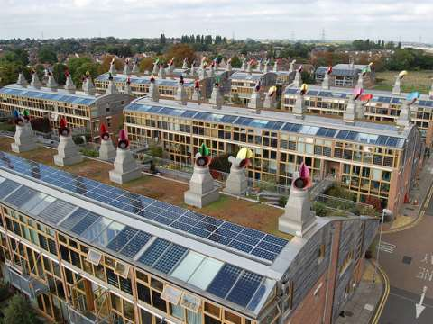 What house builders will no longer have to do - the 'BedZED' Beddington Zero Carbon Development in south London. Photo: BioRegional via Flickr.