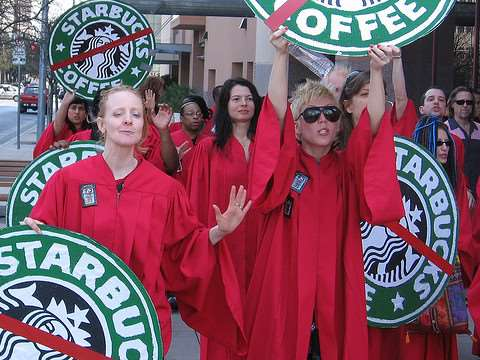 An anti-Starbucks rally. Photo: Travis Forden.