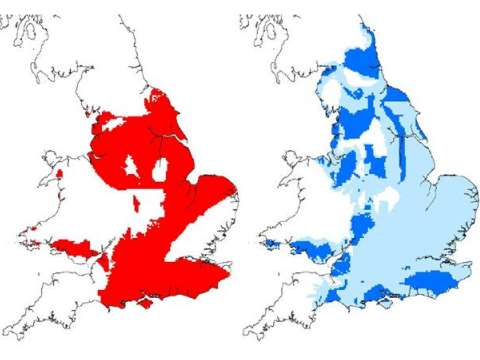 Left: Potential shale gas / oil source rocks in England and Wales. Right: principal aquifers in England and Wales (dark blue), aquifers shallower than 400 m (pale blue). Image: BGS.