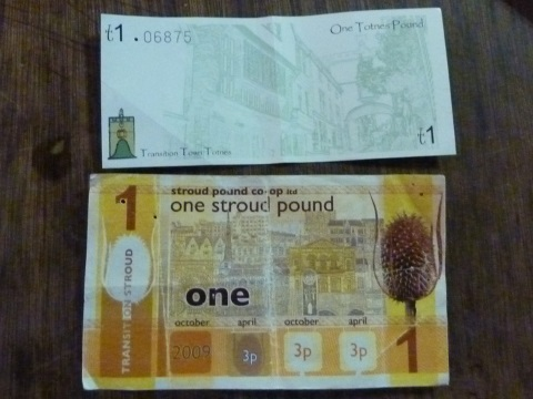Local currencies, like these Totnes and Stroud 'pounds' are intended to stimulate local economic resilience and keep benefits within communities. But is there a better way to achieve the same ends, everywhere? Photo: London Permaculture via Flickr.