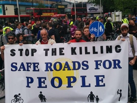 Stop the Killing - Safe Roads for People - a recent protest at the notoriously dangerous Elephant & Castle roundabout in South London. Photo: Andrew Reeves Hall via Stopthekilling.