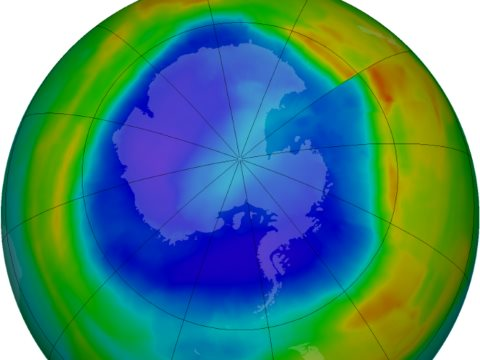 We did it for the ozone layer. Noe it's the climate's turn. Photo: ozone conditions over Antarctica, 7th September 2014. NASA.