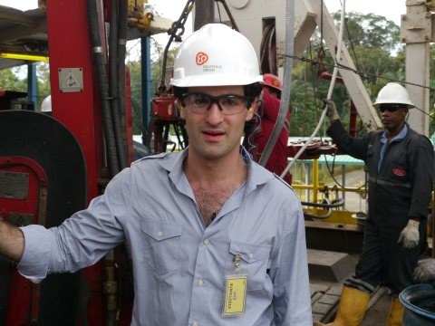 The author at an oil production site in Ecuador. Photo: David Poritz.