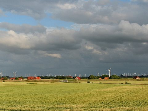 Landscape with hundreds of wind turbines close to the North Sea in Ostfriesland, Germany.