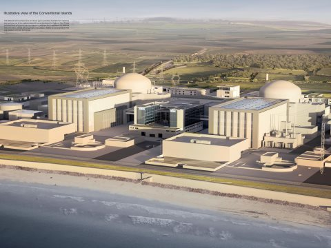 Hinkley C is 'unconstructable', says a distinguished nuclear engineer - 'like building a cathedral within a cathedral'. Artist's impression of the completed nuclear power station by EDF.
