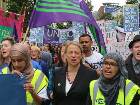 Natalie Bennett, leader of the Green Party of England & Wales, on a 'Stand up to UKIP' march in Doncaster, 27th September 2014. Photo: Steve Eason via Flickr.