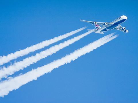 British Airways Boeing 747 contrail - taken from a Boeing 777 window somewhere over Netherlands. Photo: revedavion.com via Flickr, CC BY-SA 2.0. See aeroplanedream.blogspot.com.
