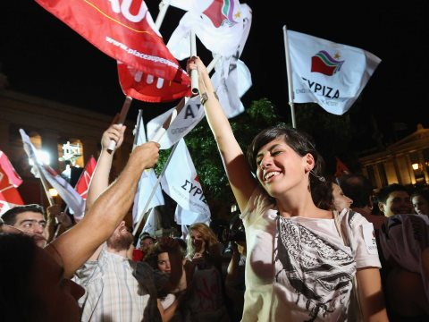 Young voters in Athens celebrate Syriza's victory in the 2014 European elections. Photo: via Business Insider Australia, marked for non-commercial re-use.