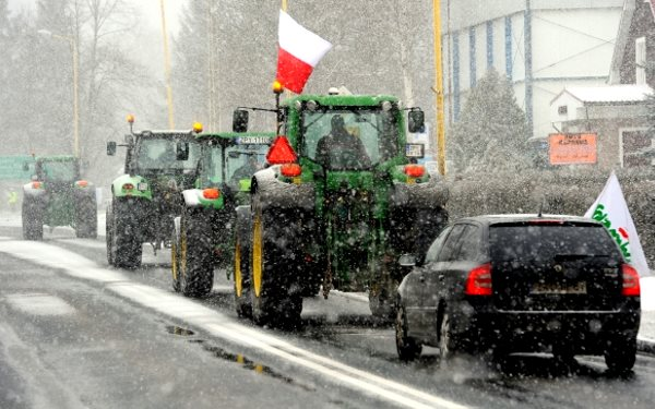 A convoy of Polish tractors on the road as part of the biggest farmers' uprising the country has ever experienced. Photo: via Land Workers Alliance.