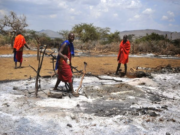A burnt Maasai village. Photo: InsightShare.org.