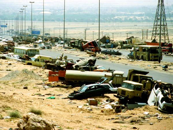 Yes, it was about the oil. The Kuwait-Basra 'Highway of Death', 26th February 1991. Photo: samer via Flickr (CC BY-ND 2.0).