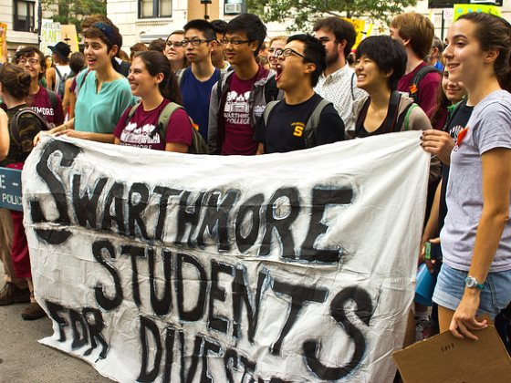 Swarthmore students ready to join the Peoples Climate March, 21st September 2014 in New York City. Photo: maisa_nyc via Flickr (CC BY-NC-SA 2.0).