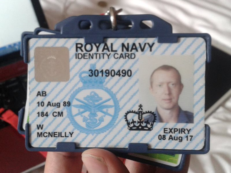 Royal Navy ID card of British hero Able Seaman William McNeilly.