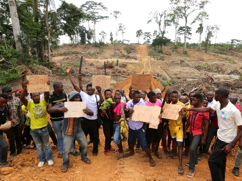 Farmers in rural Nigeria protesting at Wilmar's destruction of their crops, trees and farmland. Photo: FOEI / ERA.