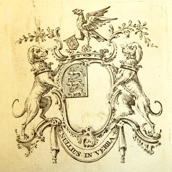 'Nullius in verba' (Don't take anyone's word for it) - motto and coat of arms of the Royal Society, used in its bookplate. Photo: kladcat via Wikimedia Commons (CC BY).
