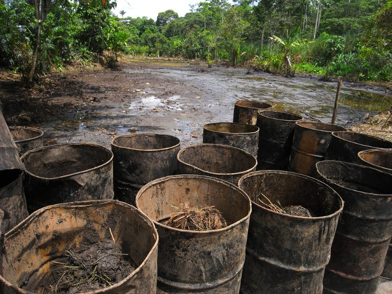 Texaco's toxic signature, written in spilt oil: Lago Agrio in the Ecuadorian Amazon. The company, now part of Chevron, has yet to compensate the victims of its pollution, or clean up. Photo: Julien Gomba via Flickr (CC BY).