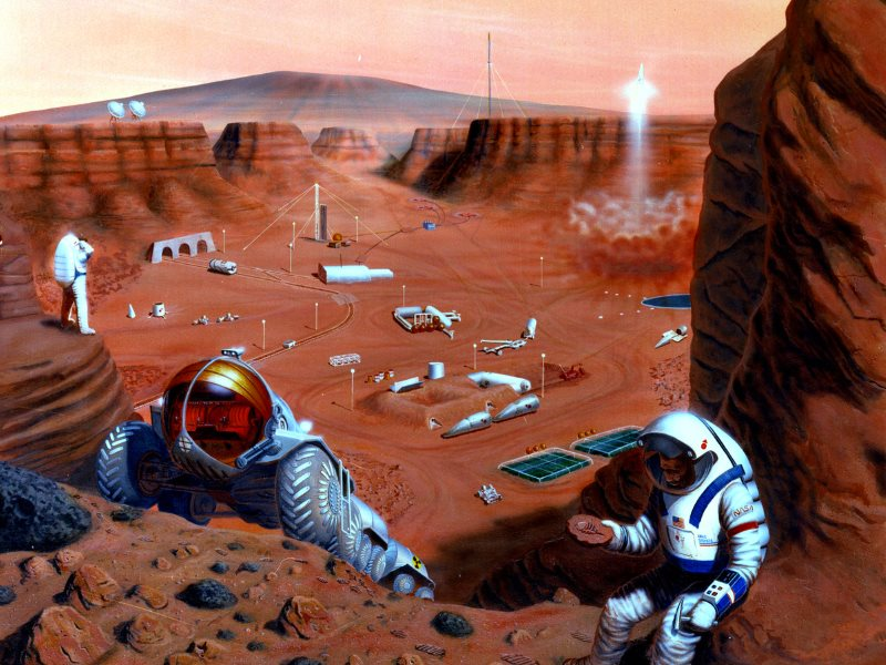 Just don't bring a nuclear power plant! Mission to Mars as envisioned by Pat Rawlings in 1985 for NASA. Image: Pat Rawlings / NASA.