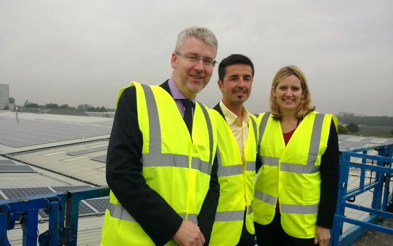 Energy Secretary Amber Rudd at the launch of Kingspan Energy's latest solar PV project on their warehouse roof in Selby, 7th October 2014. The array spans 30,000 sq.m, making it largest rooftop solar renovation project in UK. Photo: DECC via Flickr (CC