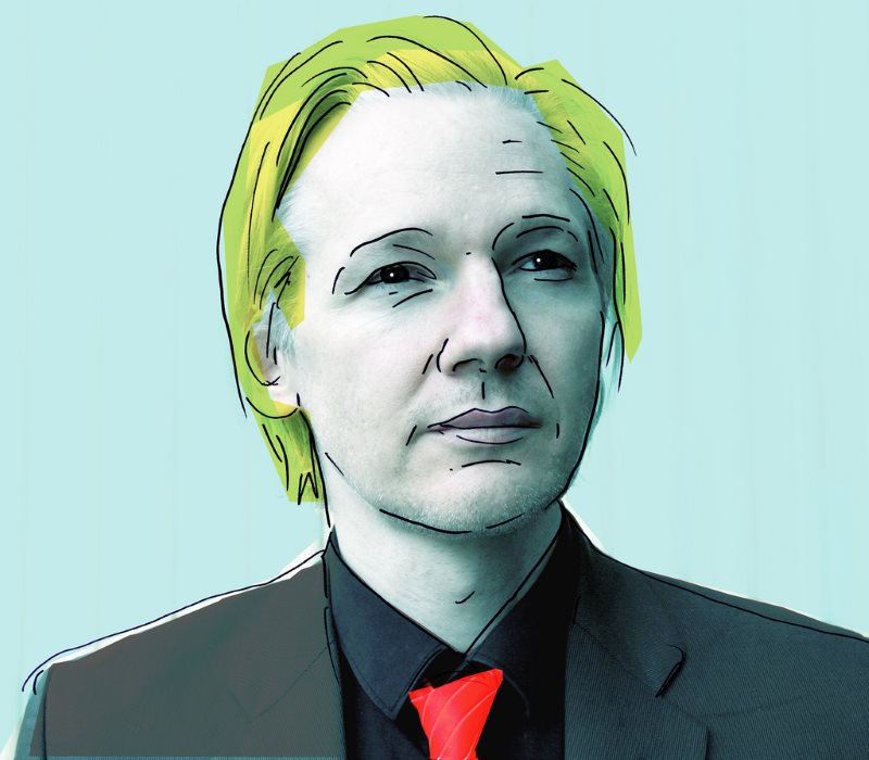 Julian Assange. Illustration: Mataparda, on a photo from Espen Moe, via Flickr (CC BY).