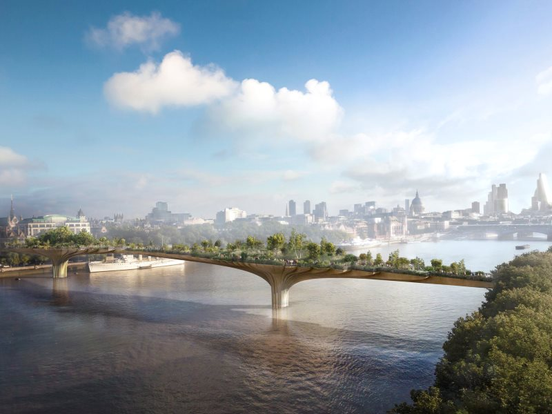 Artists impression of 'Garden Bridge' by Heatherwick Studio. Not immediately obvious is that it will block views from Southbank along the river to St Pauls Cathedral.